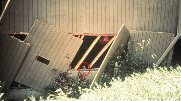 An unbraced cripple wall collapses from the force of an earthquake despite foundation bolts.