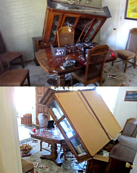 Earthquake damage to dining room hutch that fell off buffet during Napa earthquake